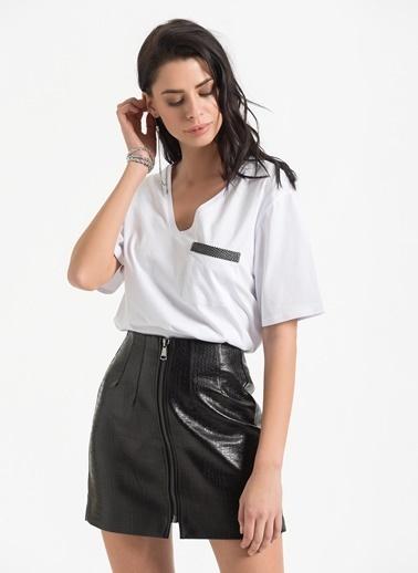 Styletag Cep Detaylı Tişört Beyaz